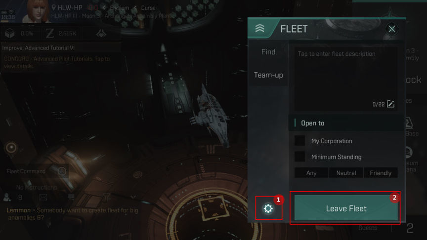 Eve Echoes How to create Fleet and how do leave Fleet