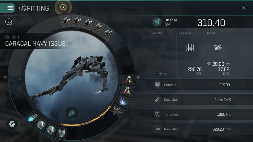 Eve Echoes Caracal Navy Issue Fit Ship Recommended Fittings