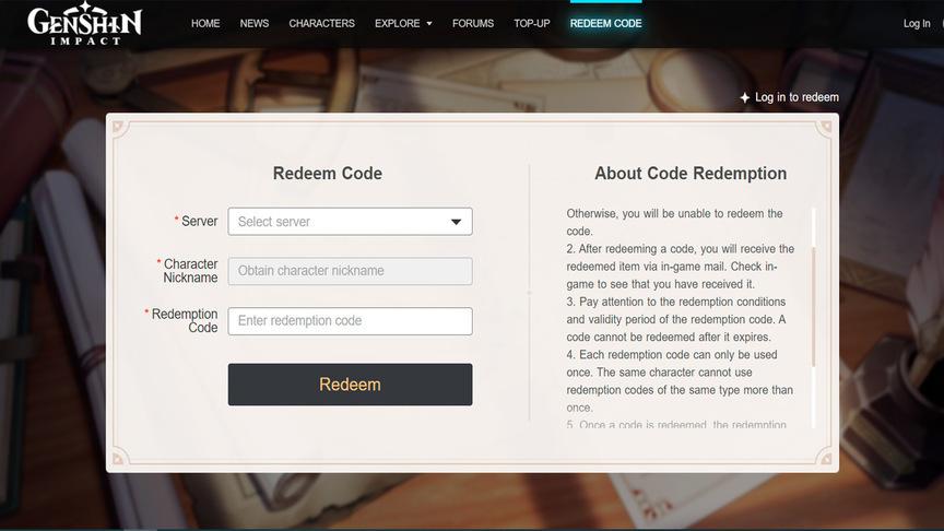Genshin Impact Promo Codes (Redeem Code)