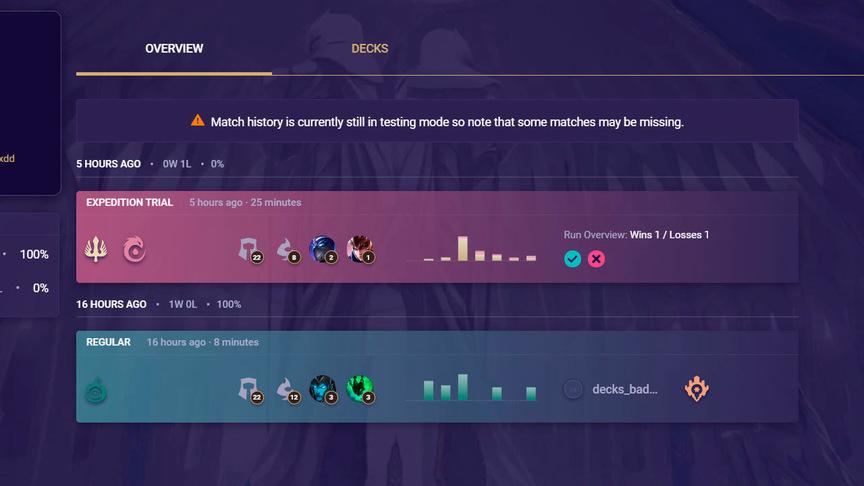 Legends of Runeterra Check statistics matchs