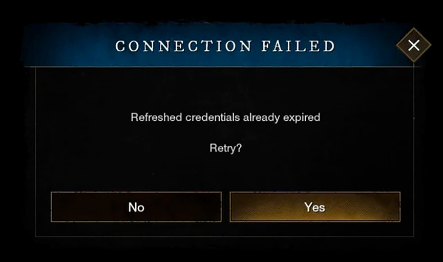 New World Error Refreshed credential already expired