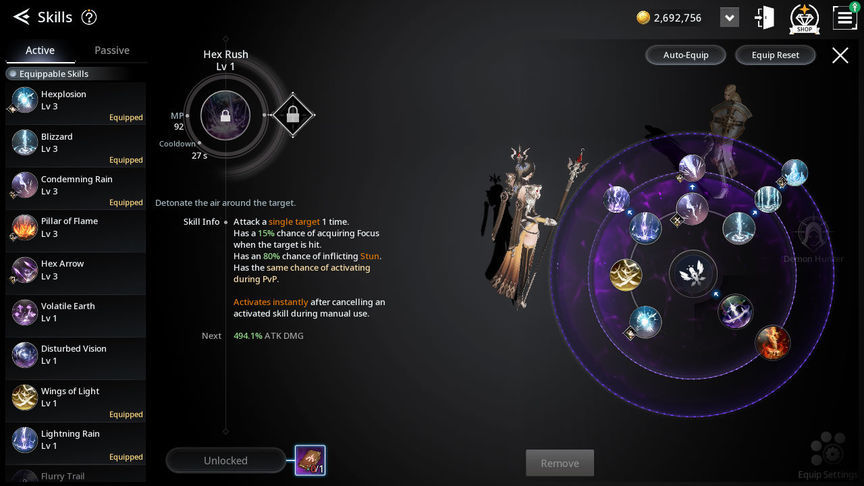V4 Build skill of the class Enchantress