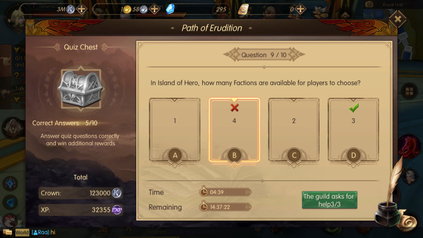 In Island of Hero, how many Factions are available for players to choose? Path of Erudition