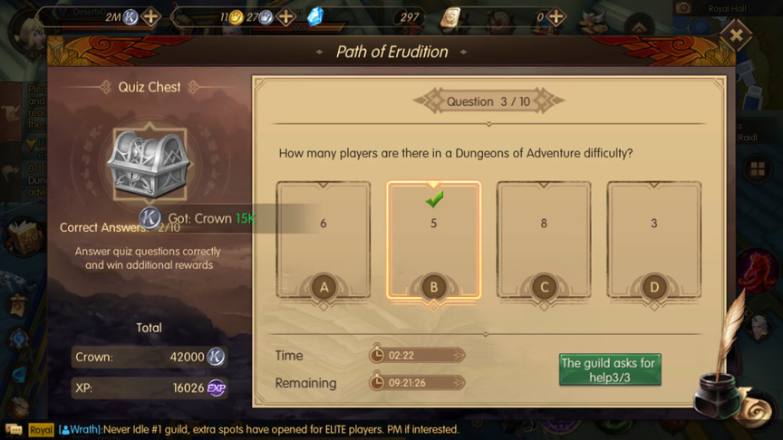 How many players are there in a Dungeons of Adventure difficulty? Path of Erudition