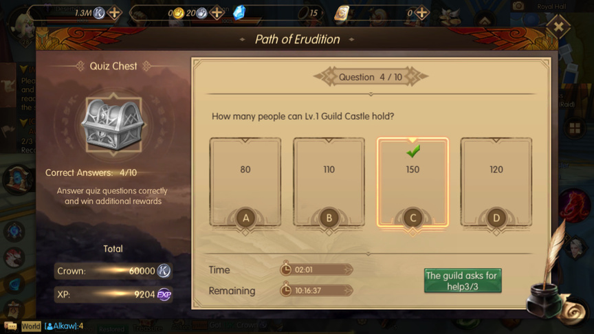 How many people can Lv.1 Guild Castle hold? Path of Erudition