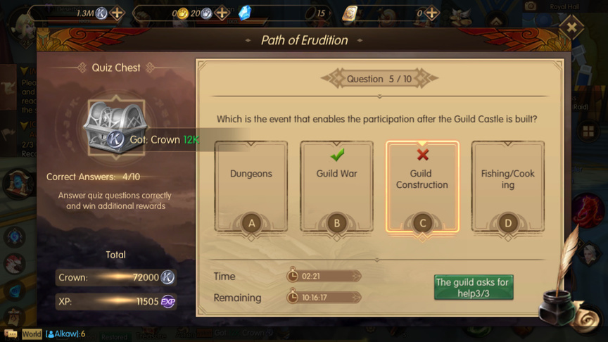Which is the event that enables the participation after the Guild Castle is built? Path of Erudition
